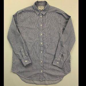Madewell Blue Striped Oversize Ex Boyfriend Shirt